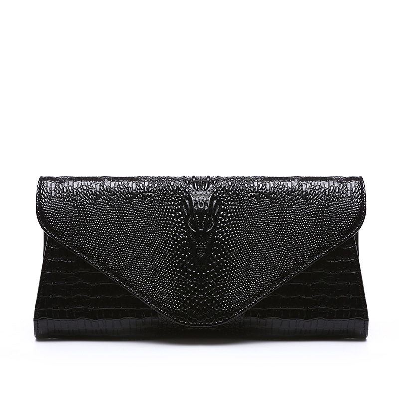 leather crocodile grain hand bag Europe and America brand fa...