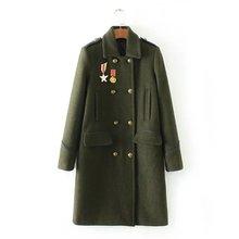 2016秋冬新款女装时尚军装风中长款毛呢大衣女呢子外套