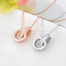 廠家批發s925純銀飾品 歐美雙環吊墜項飾鍍18k玫瑰金鎖骨鏈項鏈