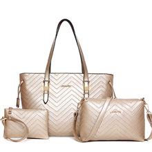 欧美时尚大容量女包外贸女士手提单肩包 零钱包三件套子母包批发