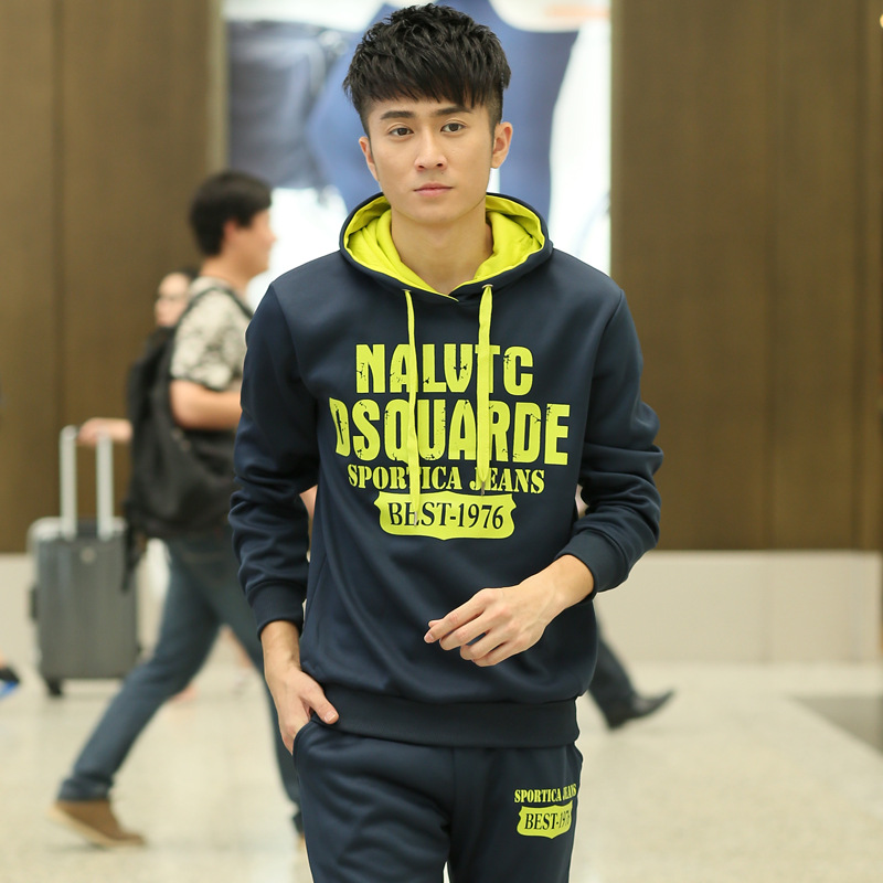 春秋款卫衣套装男士韩版连帽衫休闲运动服青少年学生男装套头卫衣