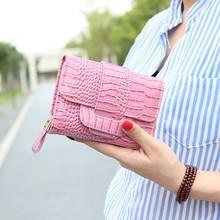 韩版新款 轻奢高档PU皮漆面鳄鱼纹三折搭扣短款带零钱位女士钱包