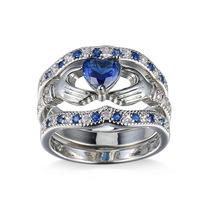 外贸速卖通Wish爆款锆石戒指 创意心形情侣饰品套装三件套批发