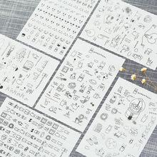 韩版创意手账透明贴纸 时尚黑白萌兔相册DIY装饰 套装6张入