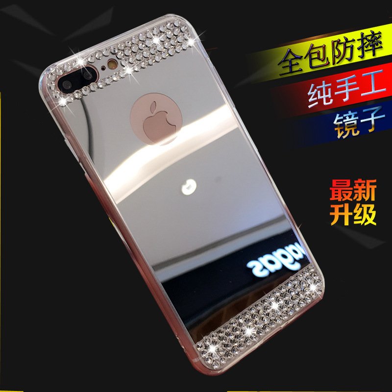 Applicable iphoneX plating mirror three S10lite anti-fall apple 8plus rhinestone mobile phone shell NOTE9 soft cover