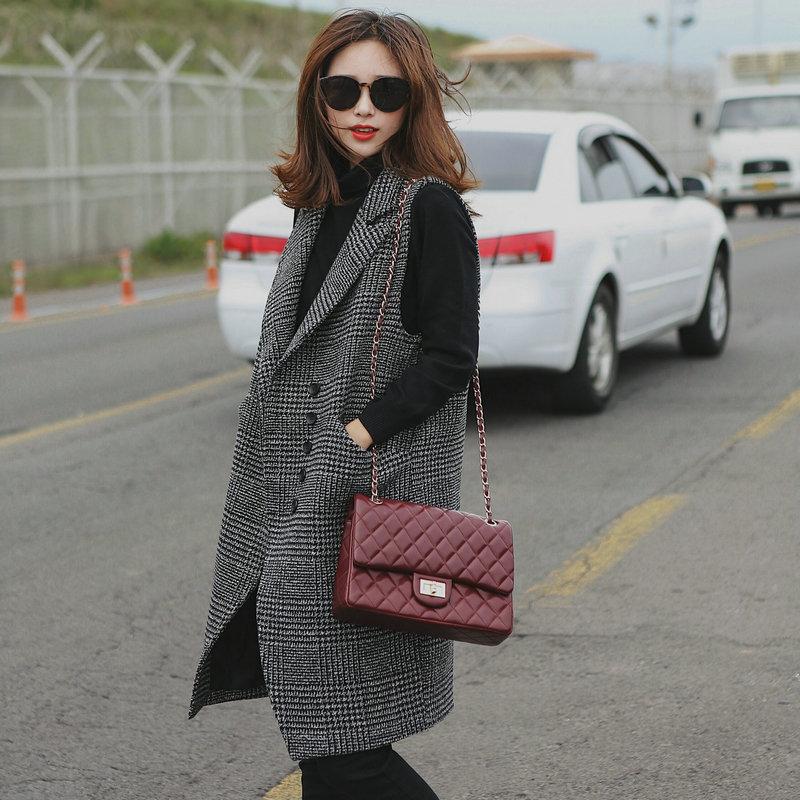 2018秋冬新款韩版中长款修身显瘦毛呢马甲女无袖西装呢子马夹外套