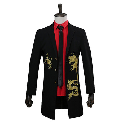 men's jazz dance suit blazers Men dress long golden dragon suit performance Dress Bridesmaid Dress embroidered welcome coat