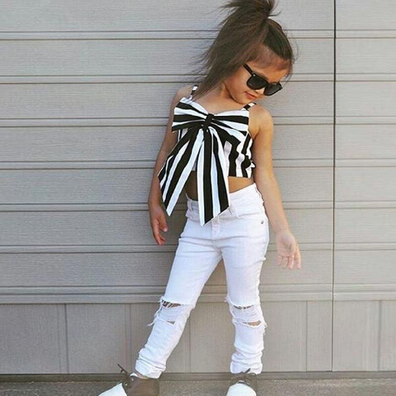 pants Kids Clothes Set 2PCS Toddler Baby Girls Outfits Stripe T Shirt Tops