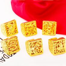 越南沙金雄鹰款男款双层戒指 环保铜镀真金男士指环婚庆饰品女