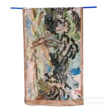 中国山水画仇英桑蚕丝丝巾外贸女士春夏防晒百搭艺术衍生围巾披肩