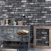 3D复古青砖灰砖特色砖纹砖块壁纸饭店餐厅理发店仿古砖墙纸特价