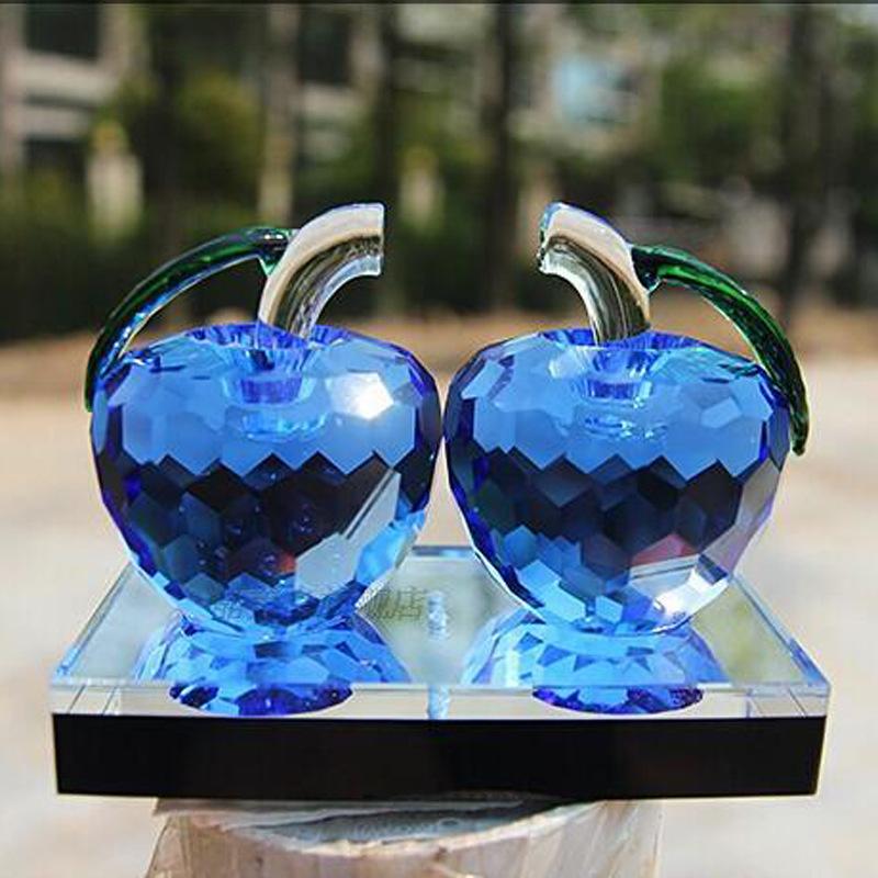 水晶双苹果摆件 出入平安汽车用品摆设礼品 生日礼物创意实