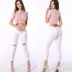 Seven points, jeans, fast selling, hot pants, small pants, self-cultivation, elastic, hollow, low waist, eBay, foreign trade women's trousers.
