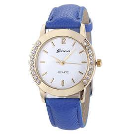 厂家直销日内瓦Geneva镶钻表盘 女款PU皮带时尚金壳石英女士手表