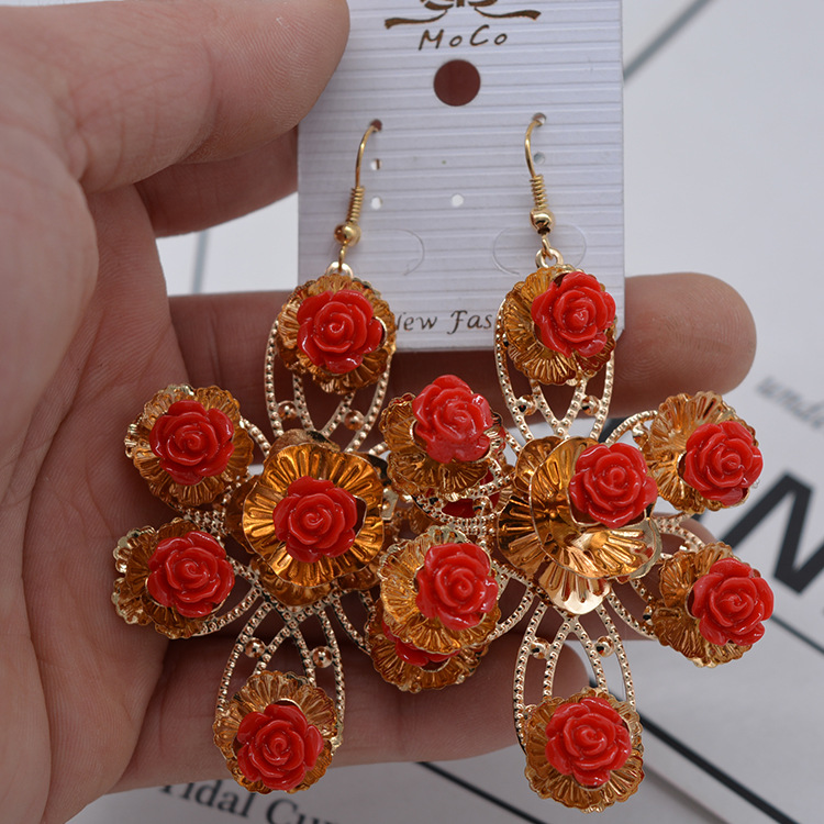 Fashion Alloy plating earring Flowers (red)  NHNT0170