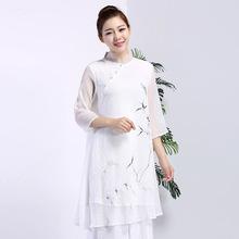 2017夏款民族风中长连衣裙手绘竹子中式雪纺双层宽松 上衣衬衫