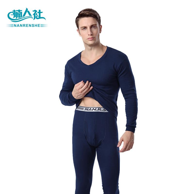 Nhà sản xuất bán buôn mùa thu và mùa đông mới đồ lót nam thiết lập thanh niên áo len cotton màu rắn V-cổ nam quần áo mùa thu quần dài