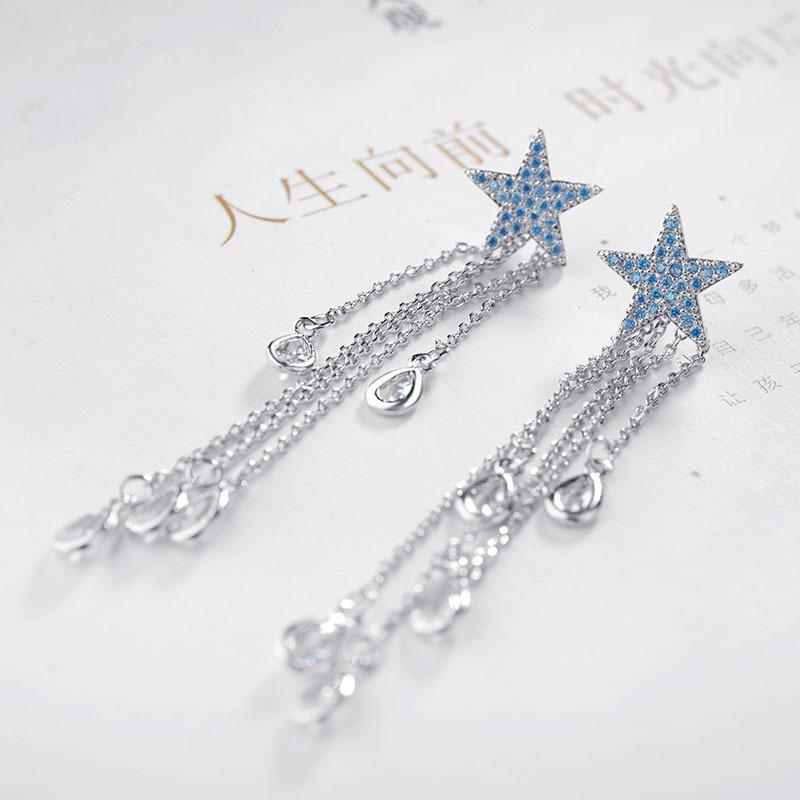Korean fashion new five-pointed star tassel zircon sterling silver needle earrings wholesale nihaojewelry NHLJ240005