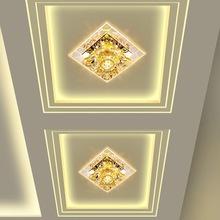 创意七彩led水晶射灯方形客厅过道走廊灯门厅入户玄关阳台吸顶灯
