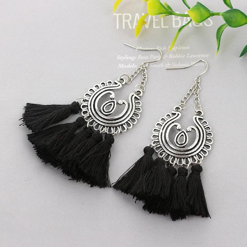 folk-custom alloy plating earring (black)NHGY0652-black