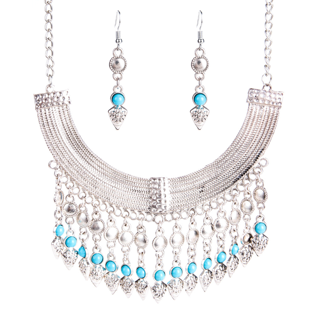 Exotic alloy plating Necklace Set (Silver blue)NHJE0482-Silver blue