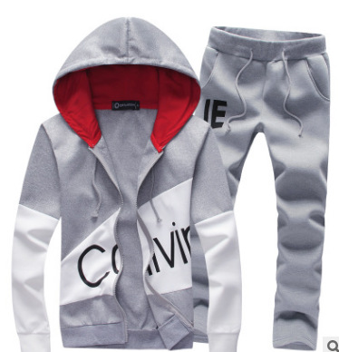 Spring And Autumn New Men'S Cardigan Hooded Sweater Suit