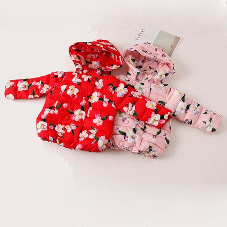 Áo khoác bé gái cotton 2018 tay bé gái cotton đôi áo trùm đầu bằng vải cotton in hoa dày