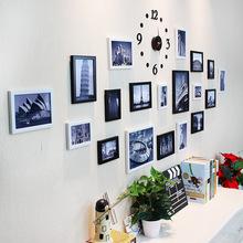 19框照片墻 帶掛鐘客廳相框墻 數字時鐘掛墻 批發價代發