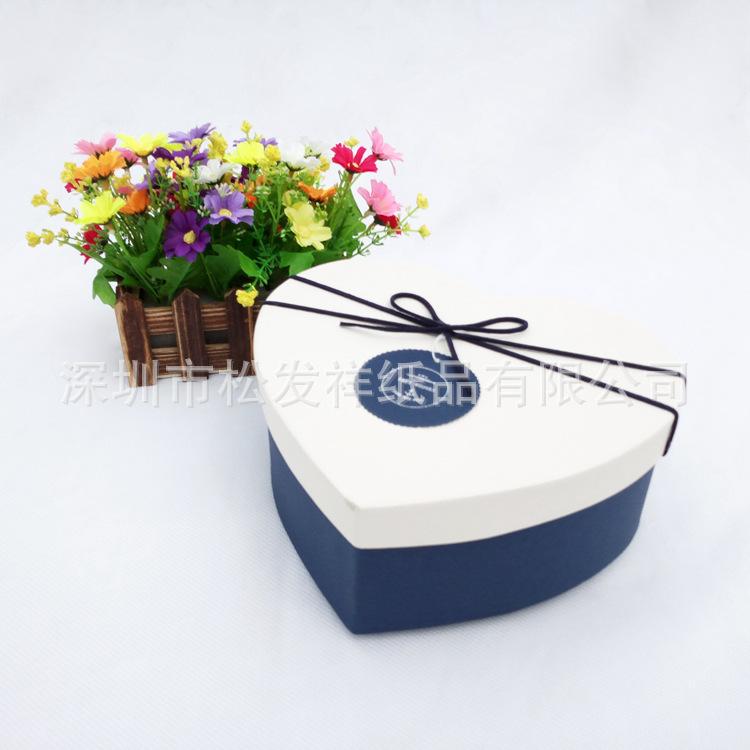 精致浪漫蝴蝶结烫金中号心形盒香皂花七夕礼物礼品包装盒子