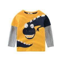春款童装T恤 2020新款男童圆领套头卡通恐龙 宝宝长袖儿童打底衫