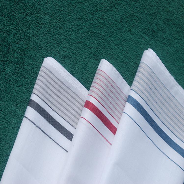 厂家直供 生产男款白中心条纹全棉手帕,绿色、环保、出口品质