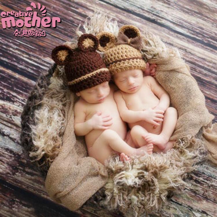 欧美儿童摄影动物造型毛线帽 手工编织婴儿帽子卡通帽子251