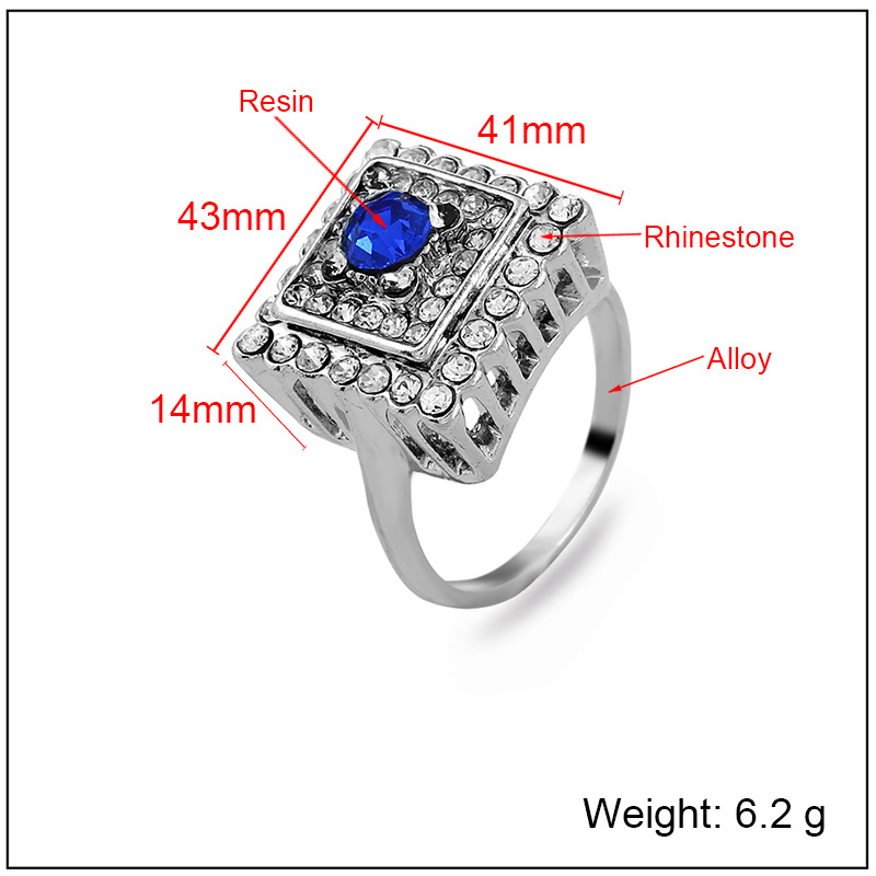 Fashion Alloy plating Rings Geometric (White K red -7)  NHKQ1432-White K red -7