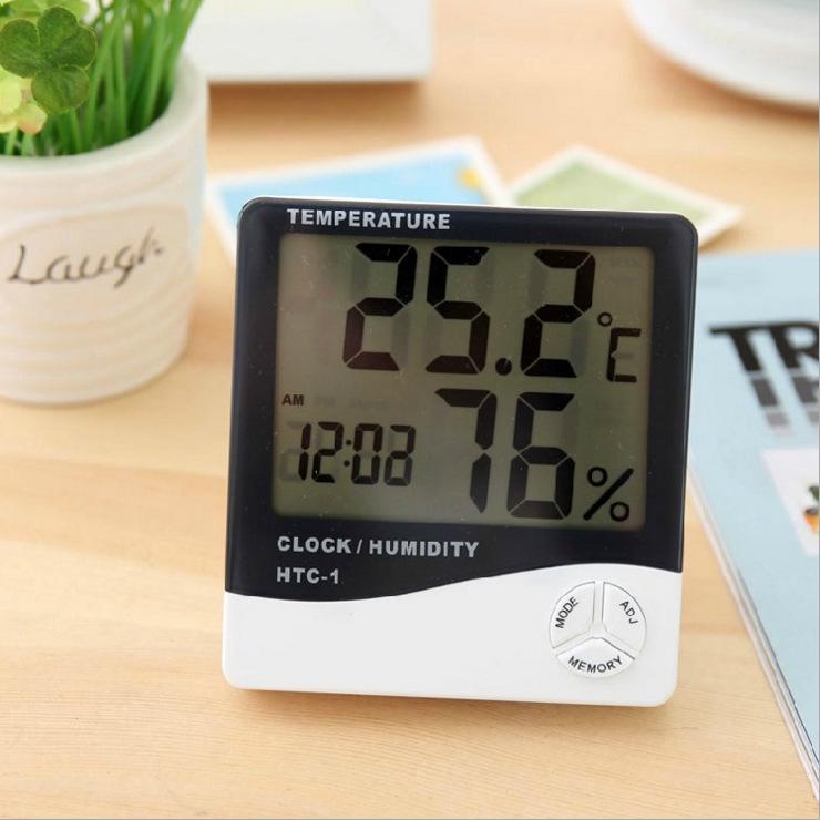 厂家直销HTC-1室内电子温度计 闹钟 创意家用大屏幕温湿度计礼品
