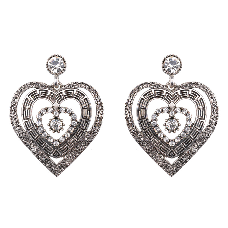 Heart-shaped alloy Diamond Necklace Set (Ancient silver)NHWF2866-Ancient silver