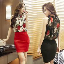 新款玫瑰花雪纺修身包臀背心裙性感无袖印花气质连衣裙