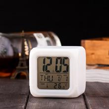 厂家批发七?#26102;?#33394;闹钟 创意四方形白色闹钟 LED静音小闹钟电子钟