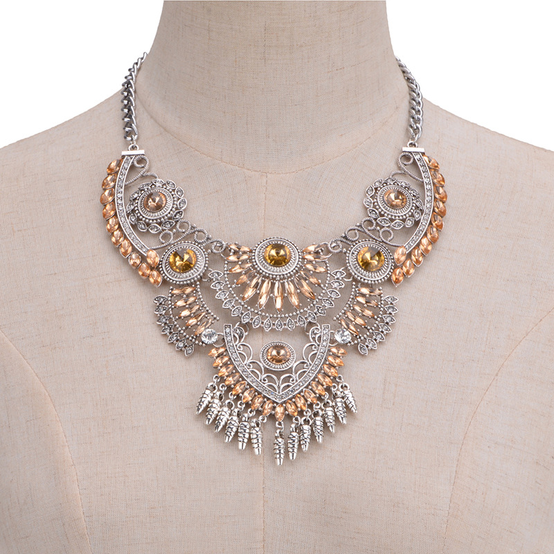 other alloy Diamond necklace (champagne)NHYT0238-champagne