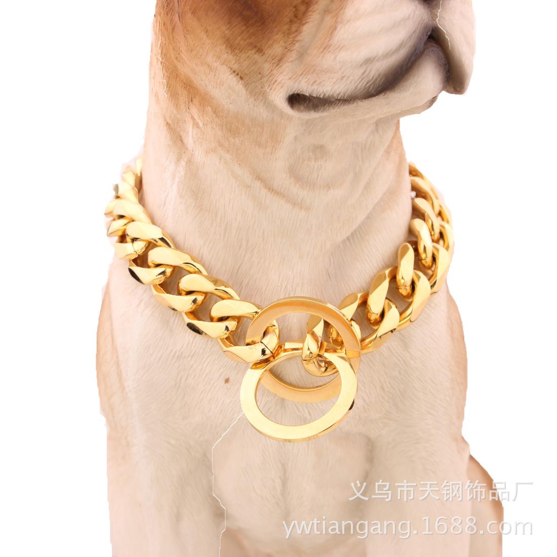 15mm亚马逊ebay热卖钛钢不锈钢金色比特犬宠物大狗链宠物链条颈圈