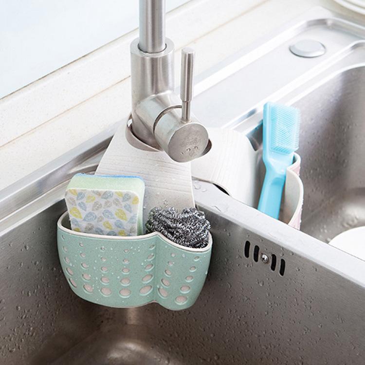 水槽沥水篮厨房用品壁挂置物架浴室卫生间小麦桔杆收纳沥水架挂袋