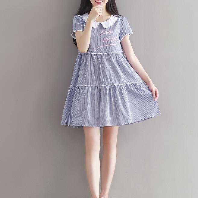 2019夏季新款学生女装文艺小清新宽松大码短袖条纹连衣裙一件代发