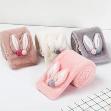 批发定制冬季兔耳朵球球保暖围巾 热销毛毛双面绒布儿童围脖