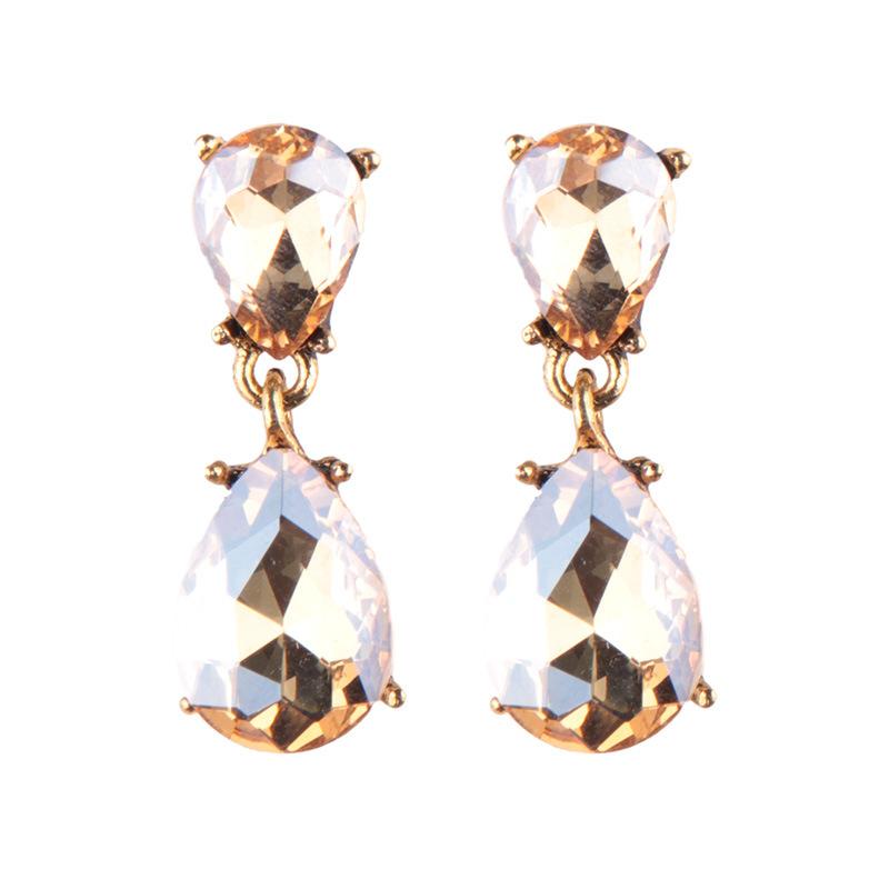 Fashion Imitated crystal&CZ  earring Geometric (Translucent red)  NHJQ9416