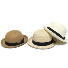 女士防晒帽翻檐小礼帽韩版蝴蝶结草编遮阳帽新款帽子 夏天太阳帽