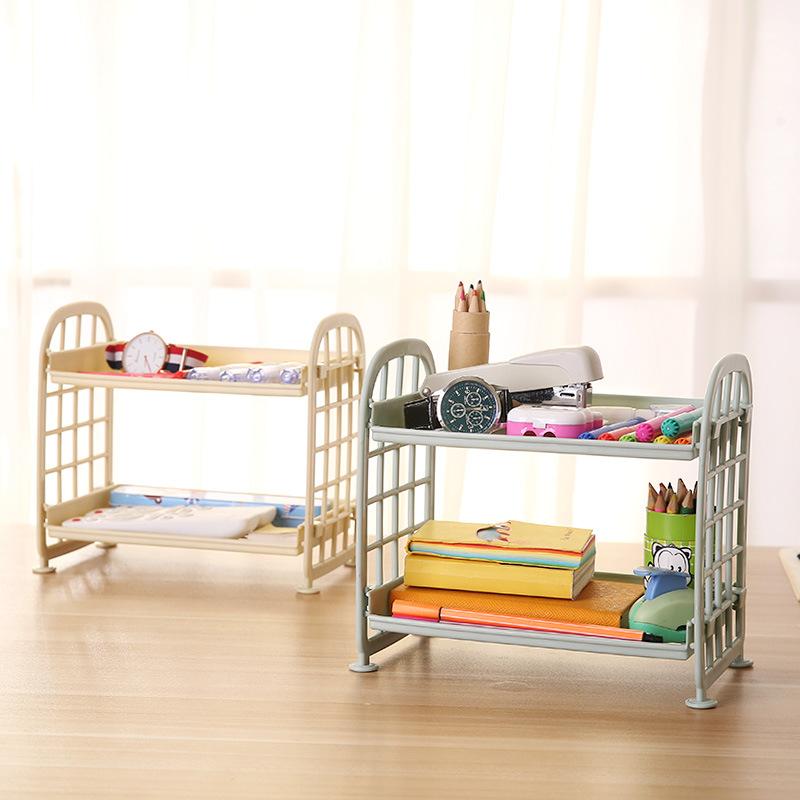 创意两层镂空塑料置物架桌面 厨房整理架浴室双层化妆品收纳架子