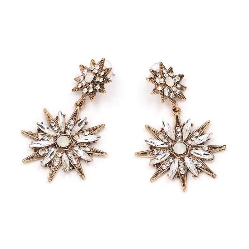 Vintage classic metal-studded rhinestone stud earrings NHJJ129207