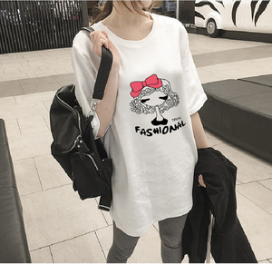 Spring and summer tide, new loose big yards, long paragraph cartoon, butterfly knot, short sleeve, T T-shirt, 9.9 packs