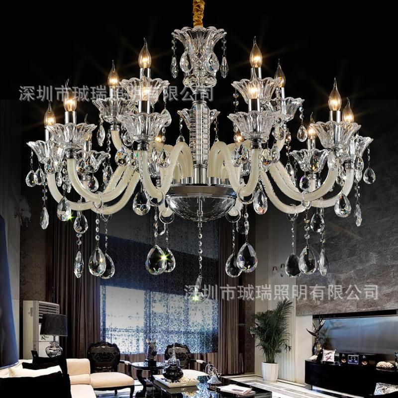欧式水晶客厅吊灯别墅会所酒店吊灯奢华蜡烛卧室餐厅书房吊灯