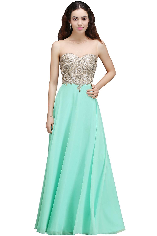 Vestido de Festa Longo Sexy Sheer Back Lace Beaded Mint Green Evening Dress  Long Chiffon Evening Gowns Robe de Soiree ee185d5fa224