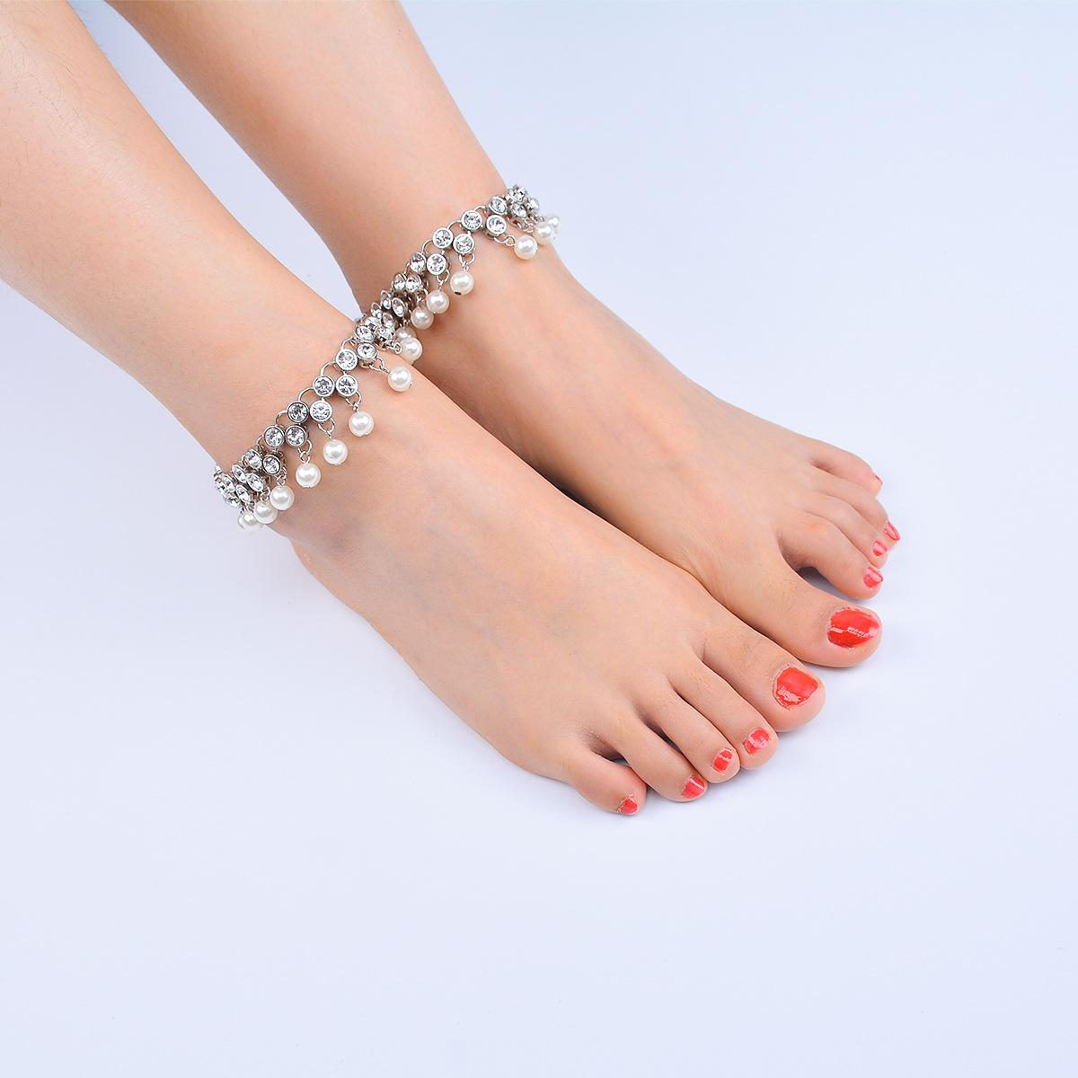 Playa de verano simple tobillera gota de agua diamante perla borla adorno de pie NHXR194245
